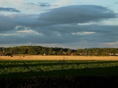 The view across the fields to Kirkby Fleetham village