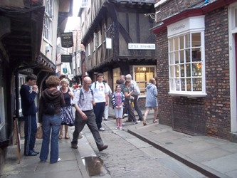 The Shambles in York with my daughter & Francesco from Italy